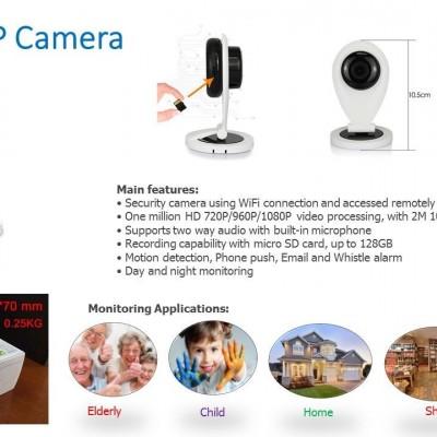 WIFI HD IP Security Camera, 720P Plus 16GB MicroSd, US Seller